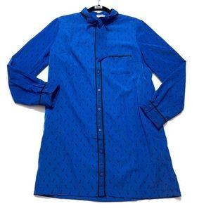 NWT Cooperative Key Print Long Sleeve Shirt Dress